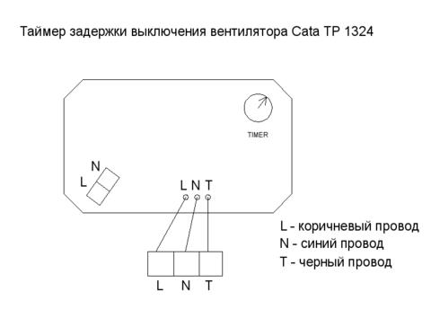 Таймер задержки выключения Cata TP 1324 (регулируемый)