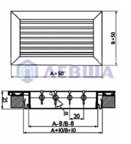 Решетка однорядная алюминиевая RAG 1000х200