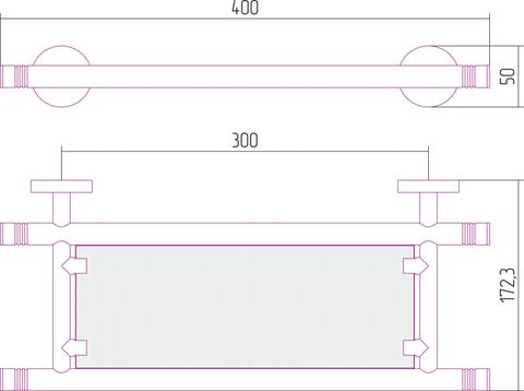 Полка КАНЬОН стеклянная (L 400)
