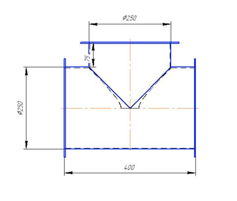 Тройник Т-образный 250 мм полипропилен