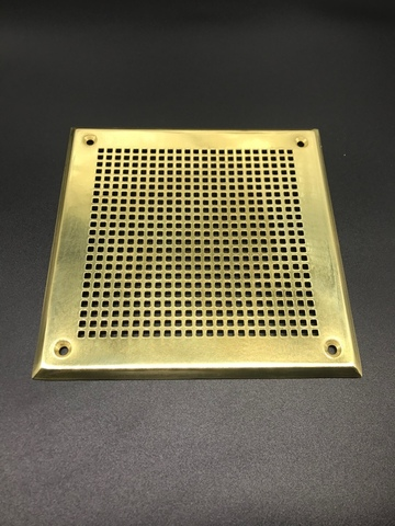Решётка 100х200 мм, латунь, перфорация мелкий квадрат