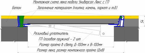 Люк напольный Универсал Люкс 600х600 (с амортизаторами)