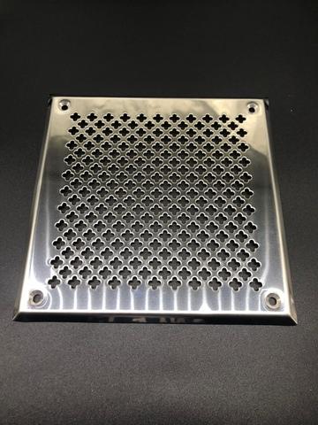 Решётка 150х200 мм, нержавеющая сталь, перфорация цветочек