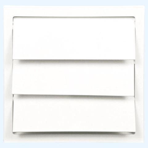 Решетка вытяжная с гравитационными жалюзи (150х150, D100) белая Эра 1515К100Ф