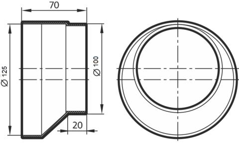 Соединитель-редуктор эксцентриковый 100х125 мм пластиковый