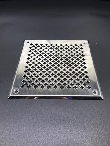 Решётка 210х210 мм, нержавеющая сталь, перфорация цветочек