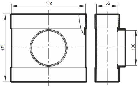 Тройник проходной 110х55/100 мм пластиковый