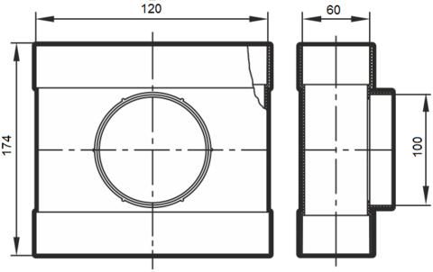 Тройник проходной 120х60/100 мм  пластиковый