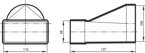 Соединитель прямой 110х55/100 мм пластиковый
