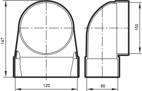 Соединитель угловой 120х60/100 КП под трубу пластиковый