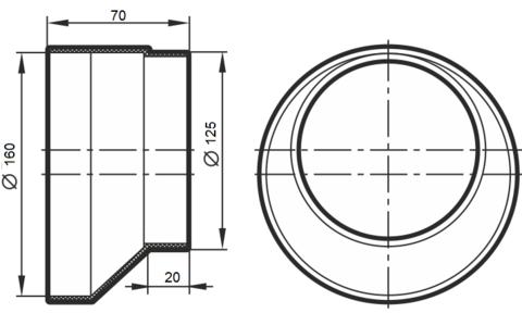 Соединитель-редуктор эксцентриковый 125х160 мм пластиковый