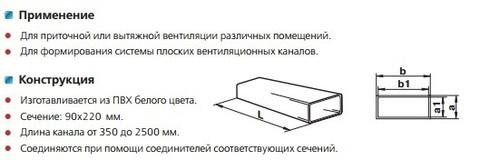 Воздуховод прямоугольный 220х90 1 м пластиковый