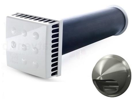 Приточный клапан Vortice KIV Quadro 125 (0,5м) с выходом стенным из нержавеющей стали