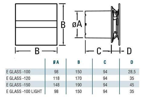 Вентилятор накладной Cata E 100 GTH с обратным клапаном (таймер, датчик влажности, термометр, дисплей)