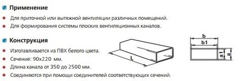 Воздуховод прямоугольный 220х90 1,5 м пластиковый