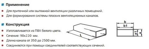 Воздуховод прямоугольный 220х90 2 м пластиковый