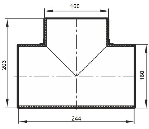 Тройник Т-образный 160 мм пластиковый