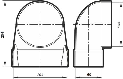 Соединитель угловой 204х60/160 КП под трубу пластиковый