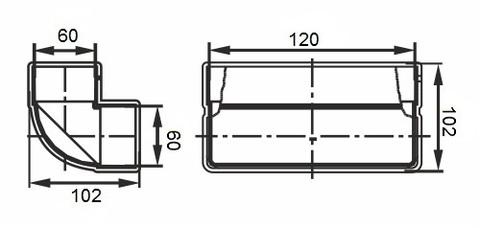 Колено вертикальное 120х60 мм пластиковое