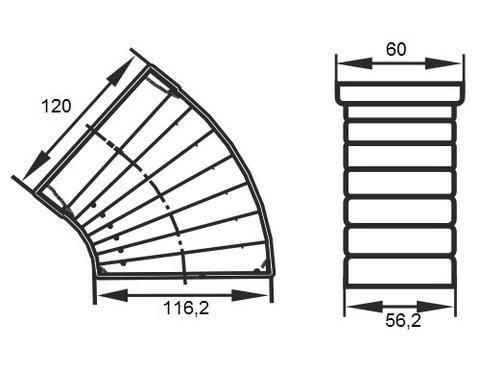 Колено разноугловое 120х60 мм пластиковое