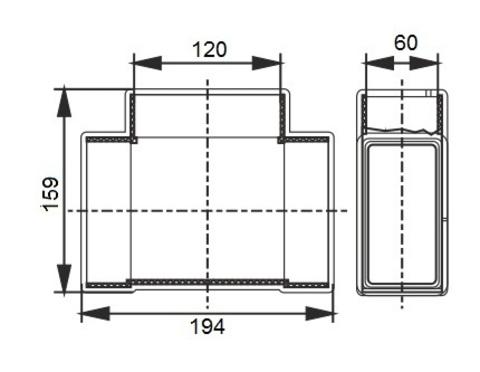 Тройник Т-образный 120х60 мм пластиковый
