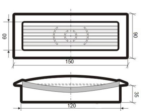 Решетка приточно-вытяжная с фланцем 120х60 мм пластиковая