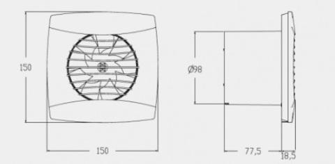 Вентилятор накладной Cata UC-10 Hygro Black (таймер, датчик влажности)