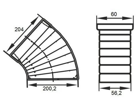Колено разноугловое 204х60 мм пластиковое
