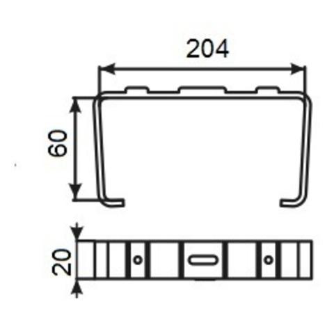 Держатель плоских воздуховодов 204х60 мм пластиковый