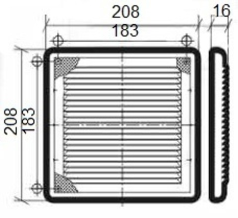 Решетка накладная 210х210 мм Эра 2121Р