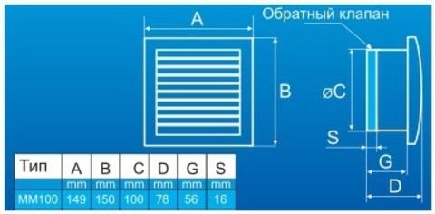 Вентилятор накладной MMotors JSC МM-100 Серебро Квадрат