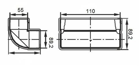Колено вертикальное 110х55 мм пластиковое
