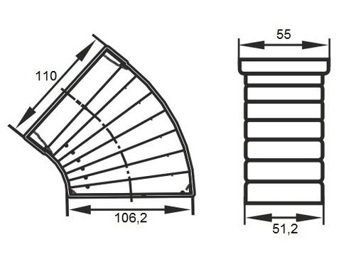 Колено разноугловое 110х55 мм пластиковое