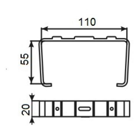 Держатель плоских воздуховодов 110х55 мм пластиковый