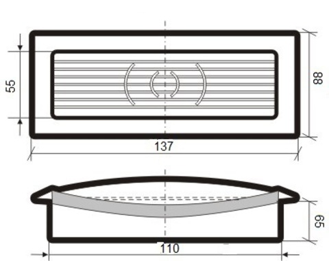 Решетка приточно-вытяжная с фланцем 110х55 мм пластиковая