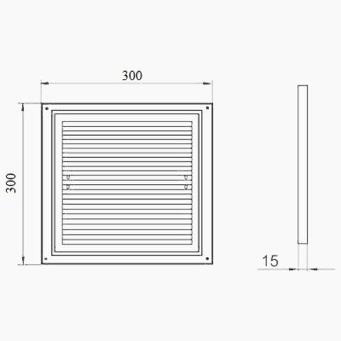Решетка накладная 300х300 мм Vents ДВ 300 с