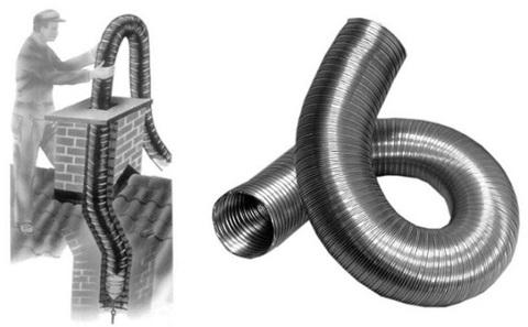 Газоход гофрированный d 110 мм (1м) из нержавеющей стали