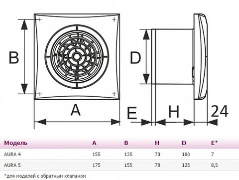 Вентилятор накладной Эра AURA 5C MRH D125 с обратным клапаном (таймер, датчик влажности)