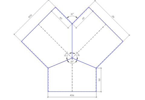 Тройник/штаны  Y-образные 200 мм полипропилен