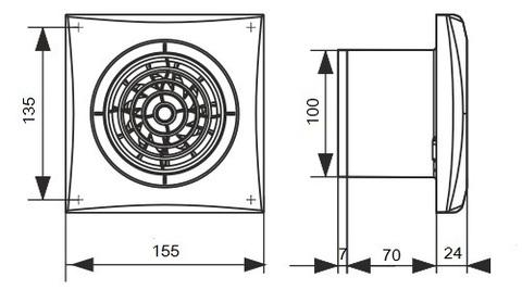 Вентилятор накладной Эра AURA 4C GRAY METAL D100 с обратным клапаном