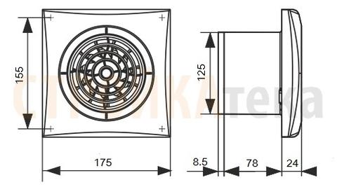Вентилятор накладной Эра AURA 5C MR D125 с обратным клапаном (таймер)