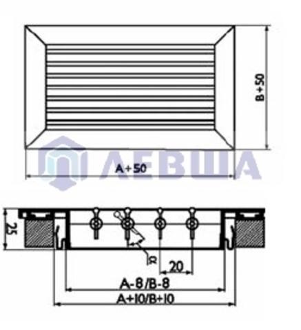 Решетка однорядная алюминиевая RAG 1000х150