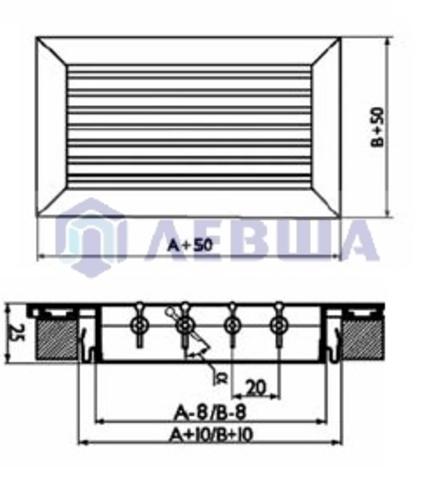 Решетка однорядная алюминиевая RAG 150х150