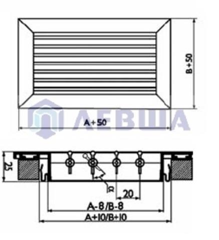 Решетка однорядная алюминиевая RAG 200х100