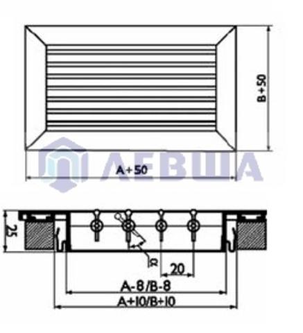 Решетка однорядная алюминиевая RAG 200х150