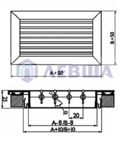 Решетка однорядная алюминиевая RAG 200х200