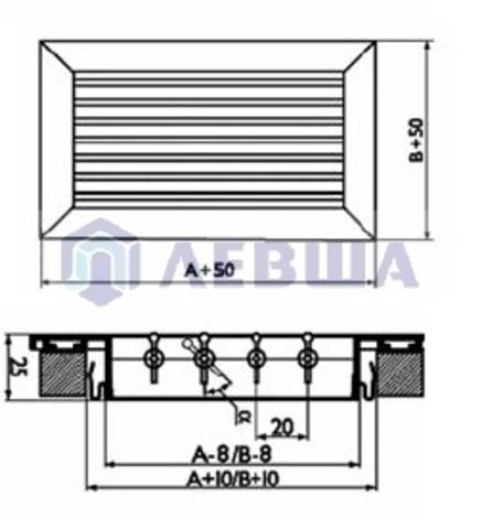 Решетка однорядная алюминиевая RAG 300х100