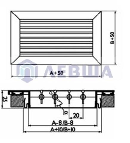 Решетка однорядная алюминиевая RAG 300х150