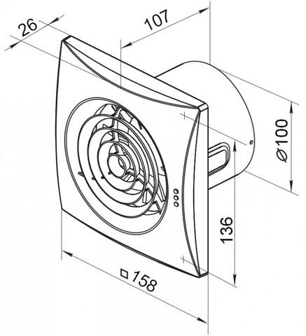 Вентилятор накладной Vents 100 Quiet TP (таймер, датчик движения)