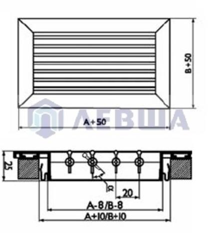 Решетка однорядная алюминиевая RAG 400х100
